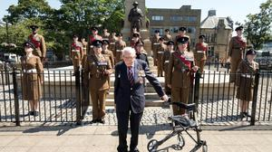 Captain Sir Tom Moore with a Yorkshire Regiment honour guard as he was made an honorary freeman of Keighley, his home town (Keighley Town Council/PA)