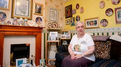 Jo Dobson at her home in Gloucester with her Princess Dianamemorabilia