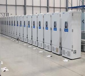 Specialist Covid-19 vaccine freezers in a secure location, awaiting distribution of the vaccines to the NHS (Public Health England)