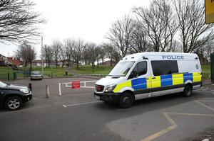 Police activity in Sara Park, off Herbert Road (Aaron Chown/PA)