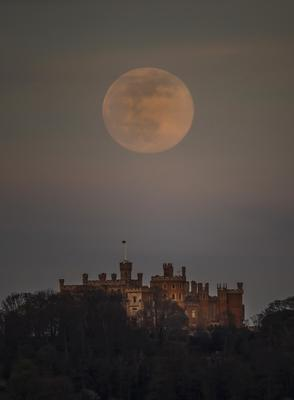 The pink supermoon over Belvoir Castle in Leicestershire (Danny Lawson/PA)