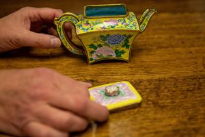 The rare imperial Chinese 'teapot' which sold for £390,000 at Hansons Auctioneers in Derbyshire on Thursday (Jacob King/PA)