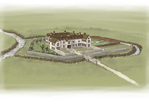 An artist's impression of the moated manor and its gardens. (HS2/PA)