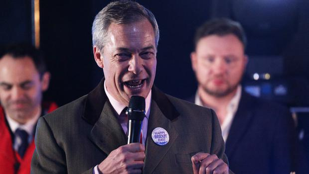 Nigel Farage speaks to pro-Brexit supporters in Parliament Square, London (Jonathan Brady/PA)