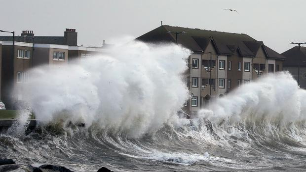 Windy weather on the Ayrshire coast at Saltcoats (Andrew Milligan/PA)