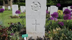 A Commonwealth War Graves Commission tribute marker in place on a grave (Commonwealth War Graves Commission/PA)