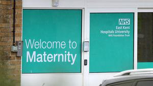 A view of the entrance to the maternity unit of the Queen Elizabeth the Queen Mother (QEQM) Hospital in Margate, Kent, part of the East Kent Hospitals University NHS Foundation Trust. The Government is due to respond to independent review into maternity services at the NHS trust after a number of babies died (Gareth Fuller/PA)