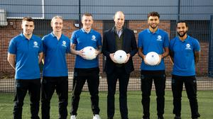 The Duke of Cambridge, pictured with members of Everton FC's squad, is featured in a documentary about men's mental health seen through the prism of football (BBC/Goalhanger Films/PA)