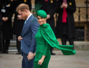 Harry and Meghan at their final official public engagement as senior royals on Commonwealth Day at Westminster Abbey (Dominic Lipinski/PA)