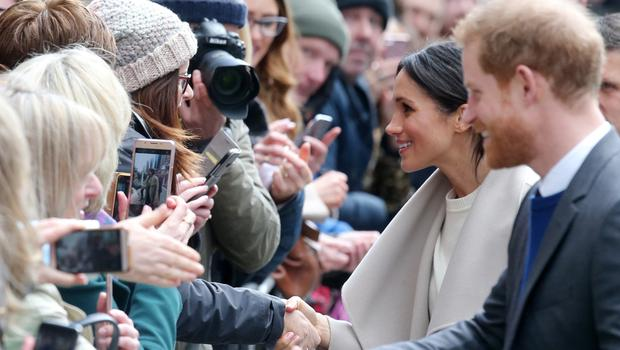 Prince Harry and Meghan Markle in Belfast in March