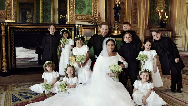 Harry and Meghan surrounded by their bridesmaids and pageboys. (Alexi Lubomirski)