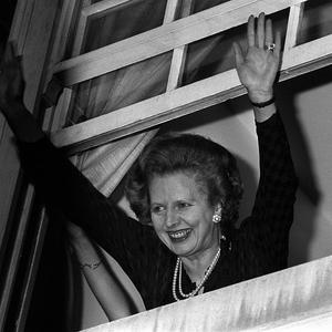 Margaret Thatcher waves to well-wishers after her 1983 election win
