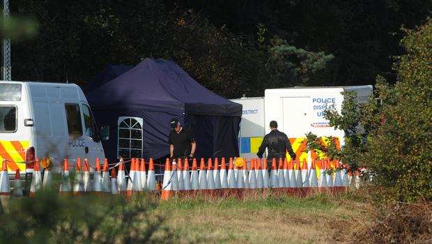 Police officers at the scene on the M5 slip road at junction 14, north of Bristol, where the remains Melanie Hall were discovered (Barry Batchelor/PA)