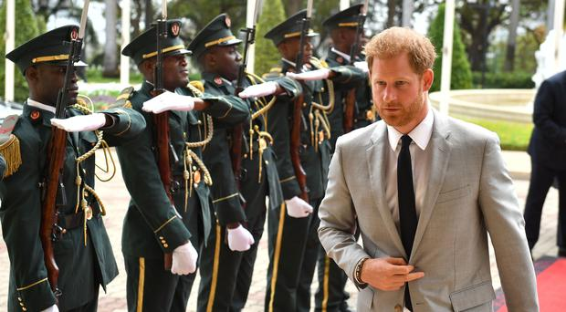 The Duke of Sussex arrives for an audience with the Angolan president (Dominic Lipinski/AP)