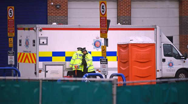 Police activity on Eastern Avenue, Grays, Essex, where 39 bodies were discovered in a lorry on Wednesday (Kirsty O'Connor/PA)