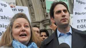 Rebecca Steinfeld and Charles Keidan are fighting for the right to enter into a civil partnership  (Charlotte Ball/PA)