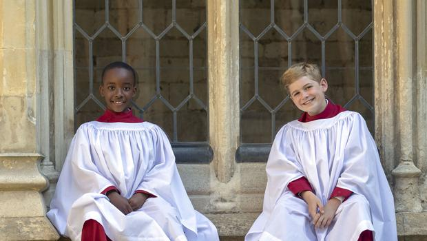 Members of St. George's Chapel Choir Nathan Mcharo, left, aged nine, and Leo Mills, aged 11 (Steve Parsons/PA)
