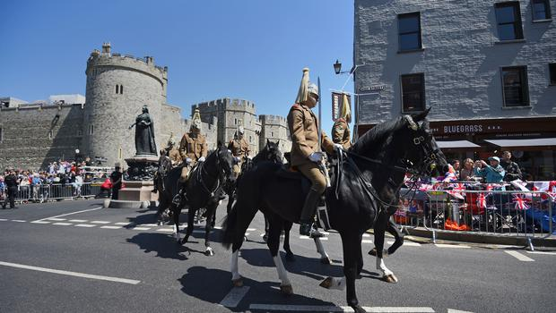 Members of the armed forces during a parade rehearsal in Windsor
