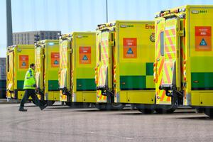 Ambulances lined up to tackle the crisis