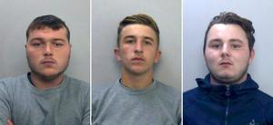 From left, driver Henry Long, 19, who dragged Pc Andrew Harper to his death, who has been found not guilty at the Old Bailey of murder but had earlier pleaded guilty to manslaughter and his passengers Jessie Cole and Albert Bowers, both 18, who were cleared of murder but found guilty of manslaughter (Thames Valley Police/PA)