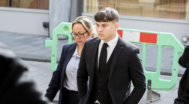 Joshua Molnar arriving at Manchester Crown Court (Peter Byrne/PA)