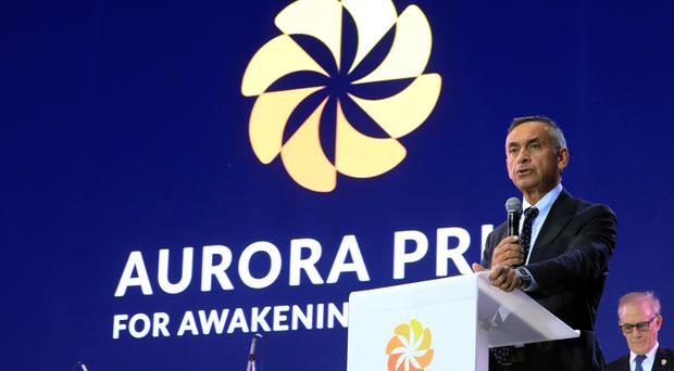 Lord Darzi on stage at the 2019 Aurora Forum in Yerevan, Armenia (Victor Boyko/Getty Images/PA)
