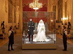 An exhibition at Windsor Castle of the Duke and Duchess of Sussex's wedding outfits (Steve Parsons/PA)