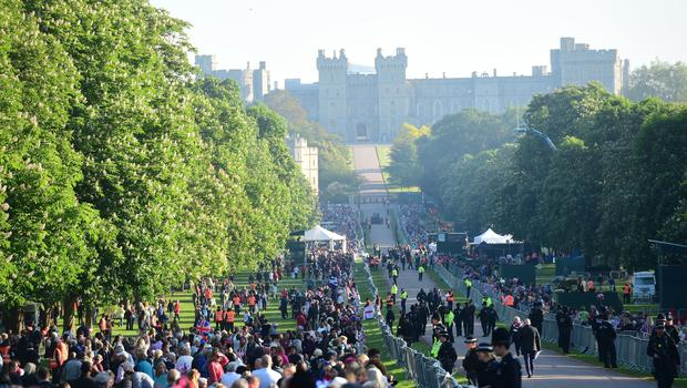 Crowd fever: Spectators arrive on the Long Walk in the Windsor (David Mirzoeff/PA)