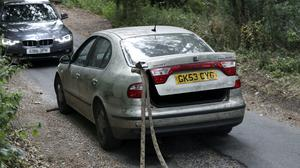 The Seat Toledo with tow rope (Steve Parsons/PA)