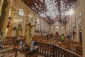 A view of St Sebastian's Church damaged in blast in Negombo (Chamila Karunarathne/AP)