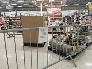 Areas of supermarkets have been cordoned off (Adam Hale/PA)