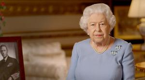 The Queen delivering her televised address on the 75th anniversary of VE Day (Buckingham Palace/PA)