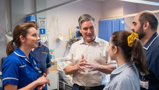 Labour leadership candidate Sir Keir Starmer meets nurses during a visit to Addenbrooke's Hospital in Cambridge (Joe Giddens/PA)