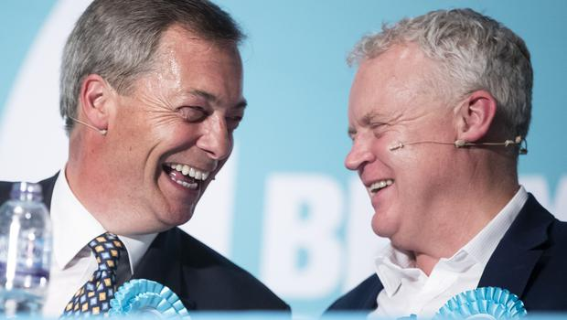 Mr Farage and Brexit Party parliamentary candidate Mike Greene (Danny Lawson/PA)