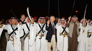 The Prince of Wales demonstrates his sword-dancing skills