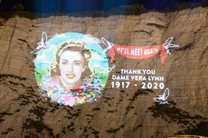 An image of Dame Vera Lynn projected onto the White Cliffs of Dover (Steve Turvey)