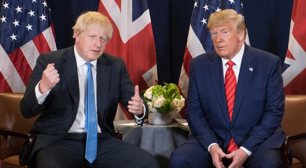 Boris Johnson (left) meets US President Donald Trump at the 74th Session of the UN General Assembly (Stefan Rousseau/PA)