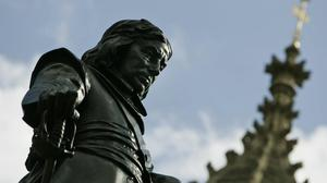 The statue of Oliver Cromwell outside the Place of Westminster in central London