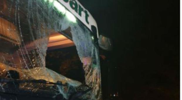 The smashed window of the lorry (Gloucestershire Police/PA)