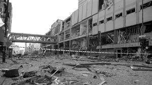The scene of devastation in Manchester city centre after the bomb attack in 1996