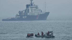 10 migrants who were found on a boat off Boulogne-sur-Mer by French authorities (PSP Cormoran / Marine nationale)