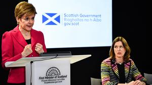 Scotland's First Minister Nicola Sturgeon (left) with chief medical officer Dr Catherine Calderwood at a coronarivus briefing (Jeff J Mitchel/PA)