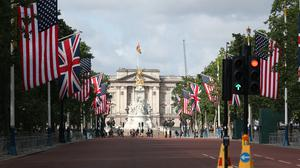 Flags on the Mall leading up to Buckingham Palace (Steve Parsons/PA)