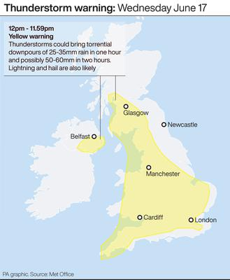 Thunderstorm warning (PA Graphics)