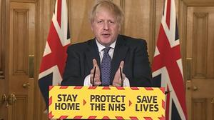 Prime Minister Boris Johnson during a media briefing in Downing Street (PA)