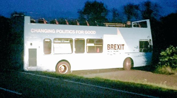 The bus abandoned in a lay-by (Sue Charles/BBC Wales)