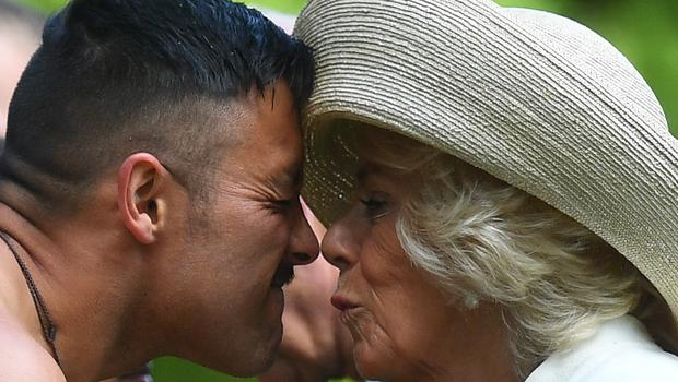 The Duchess of Cornwall is given a traditional welcome by Maori elder Kaumatua (Victoria Jones/PA)