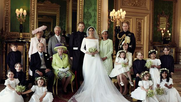 The Duke and Duchess of Sussex with their immediate family including the Queen and their pageboys and bridesmaids. (Alexi Lubomirski)