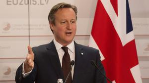 Prime Minister David Cameron at a press conference at the end of the Eastern Partnership Summit which he attended in Riga, Latvia