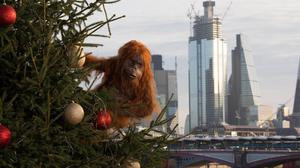 An animatronic orangutan seen in the streets of London as part of Iceland's initiative against palm oil (David Parry/PA)
